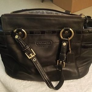 Coach Black and Gold Trim Handbag